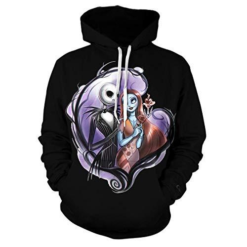 Womens The Nightmare Before Christmas Jack & Sally Skellington 3D Printed Sweatshirts Hooded Tops Black2 XXL