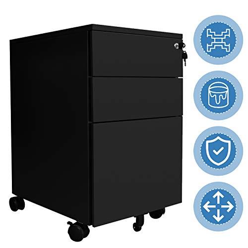 Hengda Stahl Rollcontainer Schwarz mit 3 Schubladen und Abschließbarer Mobiler Aktenschrank Müssen zusammenbauen 65 x 39 x 50 cm Büroutensilien für Büro Home Office
