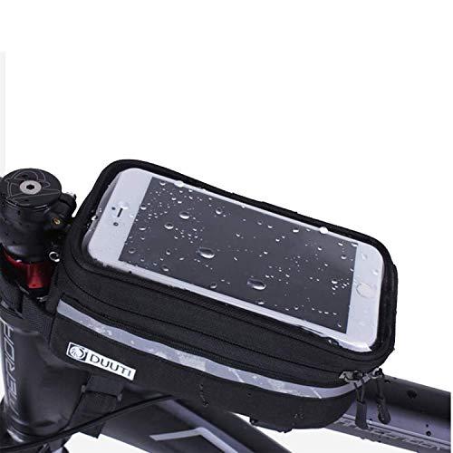 """WENTS Borsa Telaio Bici Borsa da Bicicletta Impermeabile Touch Screen Bicicletta Manubrio Anteriore Borsa Bici Accessori Bici con Striscia Riflettente per sotto 6"""" Telefono Nero"""