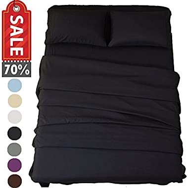 Sonoro Kate Bed Sheet Set Super Soft Microfiber 1800 Thread Count Luxury Egyptian Sheets 18-Inch Deep Pocket Wrinkle and Hypoallergenic-4 Piece(King Black)