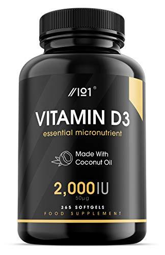 Vitamin D3 (2000iu/50mcg) Enhanced with Organic Coconut Oil for Better Absorption ~ Non-GMO & Gluten Free (365 Mini Liquid Softgels)