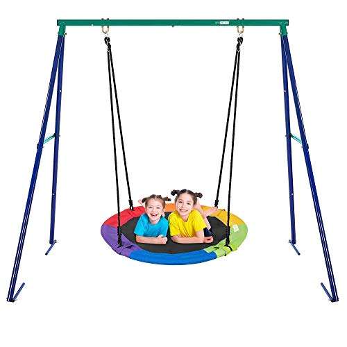 VIVOHOME Metal Swing Stand with Multicolor Saucer Swing Combo, 2 Sets