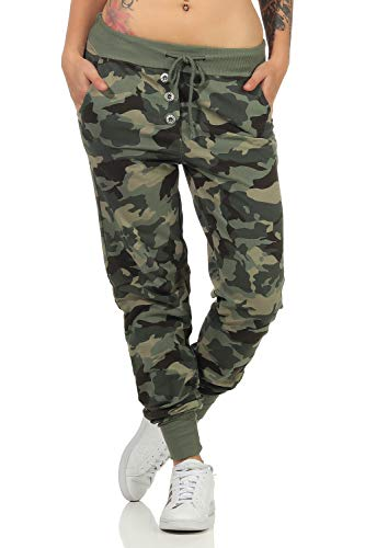 Damen Freizeithose Sporthose Sweat Pants Camouflage lang (633), Grösse:L, Farbe:Armee