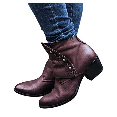 Simayixxch Women Vintage Ankle Boots Pointed Toe Low Heel Rivets Retro Suede Short Boots Roman Ankle Booties Party Boots Red