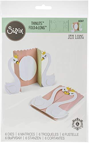 Sizzix Set di Fustelle Thinlits 6 pz Biglietto Cigno Fold by Jen Long, Multicolore, taglia unica