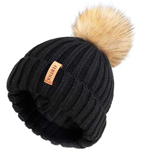 FURTALK Wintermütze warme Strickmütze Damen Mütze mit Kunstpelz Bommel