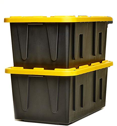 Plastic Large Box Set Tools Organizer Heavy Duty Equipment Impact-Resistant Secure Storage Container Capacity 27 Gallon 2 Pcs