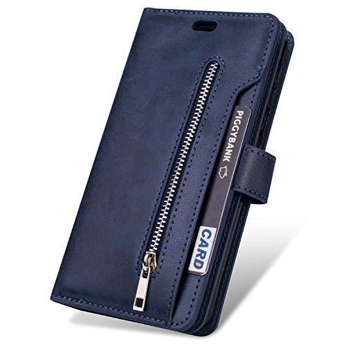 JAWSEU Compatible avec Samsung Galaxy Note 10 Coque Portefeuille PU Étui Cuir à Rabat Magnétique avec Fonction Stand[9 Fentes de Cart] Fermeture éclair Slim Leather Flip Wallet Case,Bleu