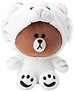 LINE FRIENDS Plush Figure - Snow Tiger Brown Character Cute Soft Sitting Stuffed Doll, 10 Inches