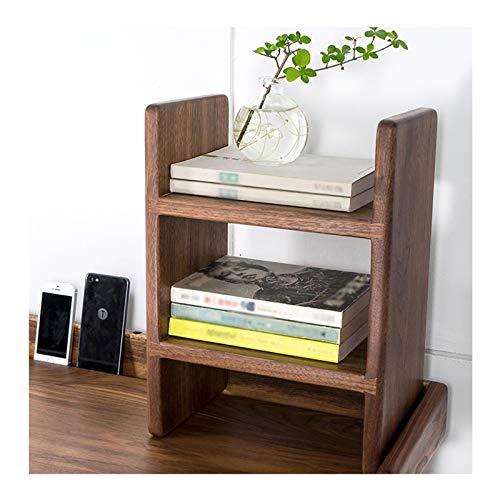 Librería Salon Estante de almacenamiento de libros de madera de 2 niveles Estantería de almacenamiento de oficina de escritorio Estilo de almacenamiento Libre de estilo H Estilo de visualización de ma