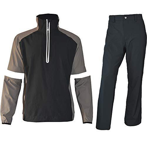 Waterproof Golf Rain Suits for Men Performance Rain Jackets and Pants for All Sports (Gray Half-zip, Small)