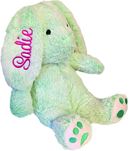 Personalized Plush Bunny-14 inches Tall- Stuffed Animal-Easter or Gift (Mint)