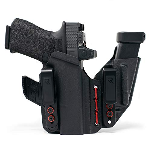 Radial Innovations Gun Holster Compatible with Glock 17 22 31 (Gen 2-5), Concealed Carry for Pistols, Compact Coreflex Design, Appendix Carry (AIWB), Black/Red, Right Hand