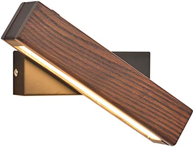 CMDDYY Massivholz Wandlampe, Nordische Moderne Minimalistische LED-Tri-Farbe-Lampe Wand Lampe, Kreativ Rotierende 10W Lesewandlampe, Geeignet Für Schlafzimmer Wohnraum Nacht Forschung,A,21X4.5CM