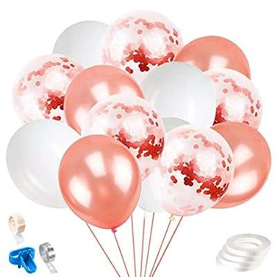Rutien 60PCS Rose Gold white Confetti Balloons ...