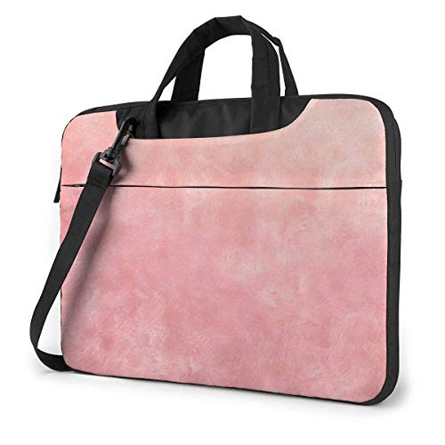 Cute Rose Gold of Pink Striped Laptop Shoulder Messenger Bag, 15.6 Inch Notebook Sleeve Carrying Case with