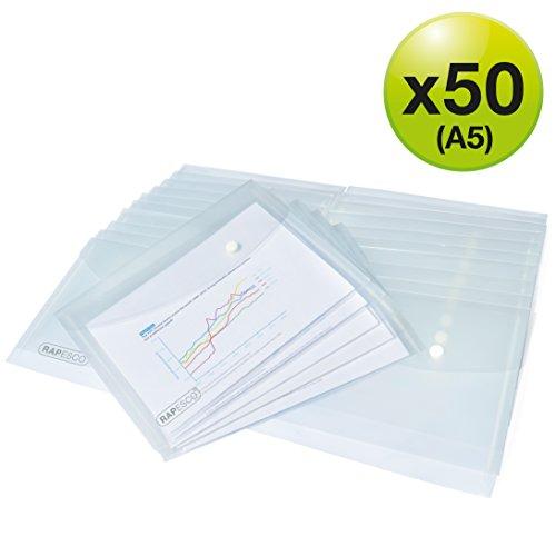 Rapesco documentos - 50 Carpetas con cierre de corchete transparentes, tamaño A5