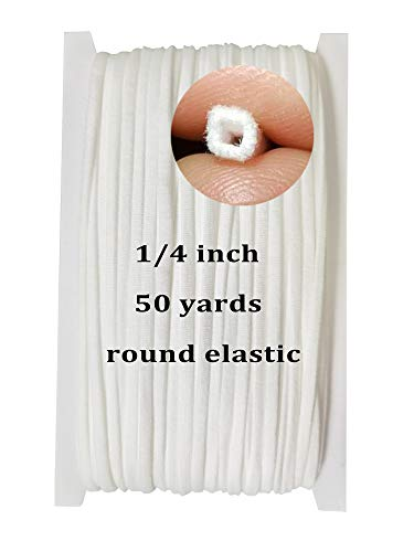 Round Elastic Bands for Sewing 1/4, Round Elastic Rope Cord US Stock, 50 Yards Elastic Bands for Sewing, Round Braided Elastic Cord Elastic String for Sewing Crafts DIY