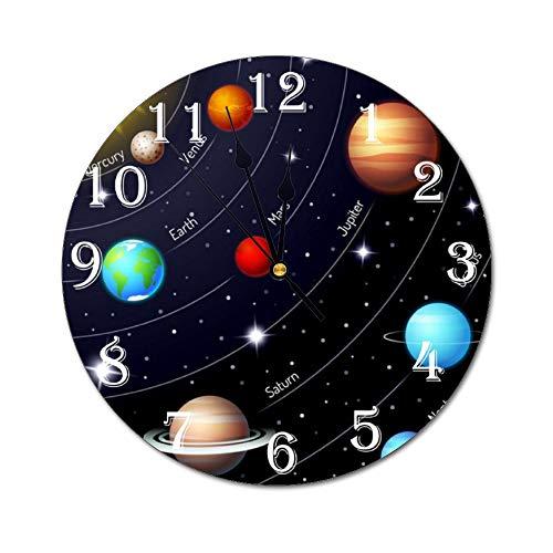 Fikujap decoración de la Pared del Reloj floreros de Cristal con Flores de Colores en estantes de Madera con Grandes de la Pared Decorativos en Colores Pastel Efectos gráfico del Reloj Decorativo,6