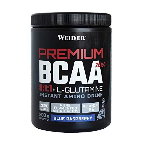 Premium BCAA 8:1:1+L-Gluamina Sabor Blue Raspberry 500g. Con Vitamina B6. Sin azúcar.