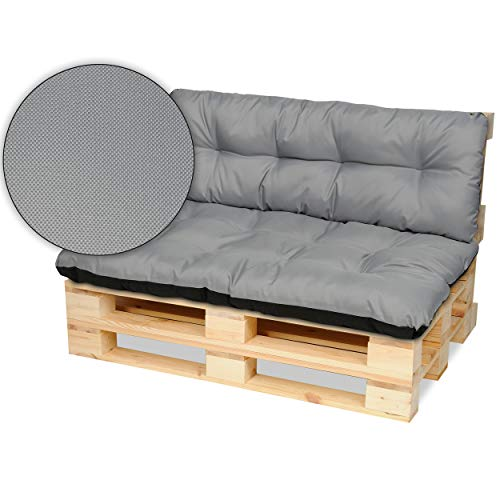 SuperKissen24. Cuscino per Bancale Divano Pallet 120x80 cm con Schienale 120x38 cm Seduta Impermeabile e Comodo per Divanetti da Esterno - Grigio