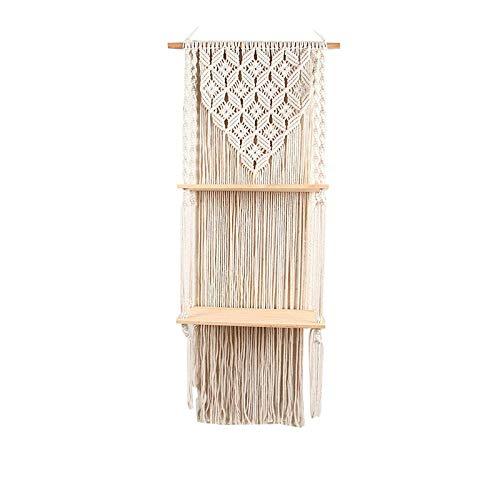 Estante colgante de pared tejido borla taller de tapiz, sala de estar de madera sala de algodón capas bastidor de cuerda capas, tenedor de plantas estantería de flotante decoración del hogar