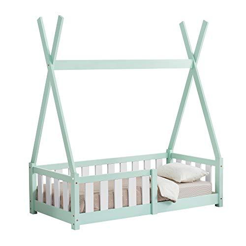 [en.casa] Cama para niños pequeños Cama Infantil 140x70cm Estructura Tipi de Madera Pino con reja de Seguridad Color Verde Menta