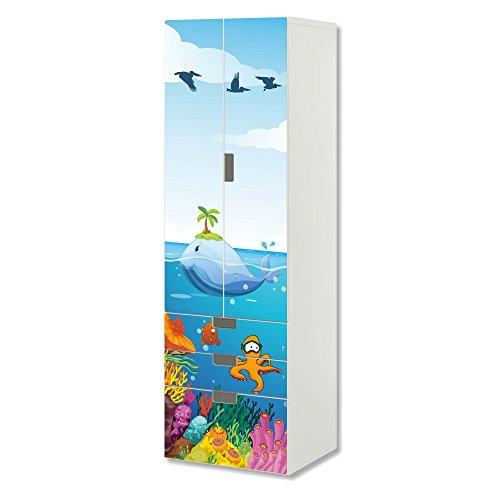 Unterwasserwelt Möbelfolie | passend für die Kinderzimmer Aufbewahrungskombination STUVA von IKEA | Klebe-Folie passgenau für Schrank und Kommode mit 3 Fächern | SC3K03 | Möbel Nicht Inklusive