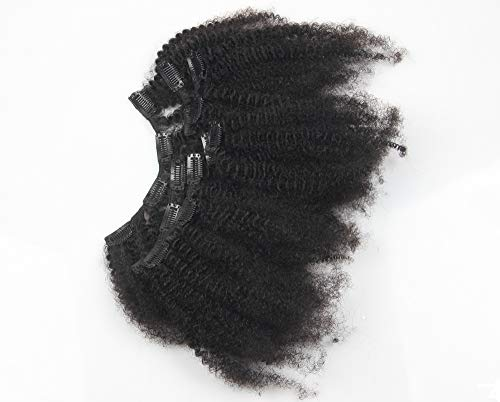 8inch Afro Kinkys Curly Clip in Human Hair Extensions Brazilian Kinky Curly Clip ins Hair Extension Clip on Hair Weft For Black Women Natural Black Color 7pcs 70g/set