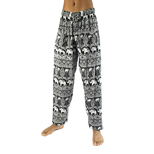 PIYOGA Men's Harem Pants Yoga Fitness Soft Baggy w 2 Pockets - Confidence of The Elephants Black