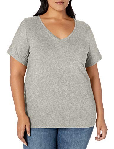Amazon Essentials Plus Size Short-Sleeve V-Neck T-Shirt Fashion-t-Shirts, Erica, Grigio Chiaro, 1X