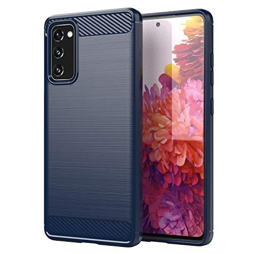 HSP Brushed Carbon Design Hülle kompatibel mit Samsung Galaxy S20 FE   Premium TPU Silikon Hülle   Blau Kratzfest Stoßfest   Geeignet für Induktives Laden   Aluminium Optik   Weiche, dünne Schutzhülle