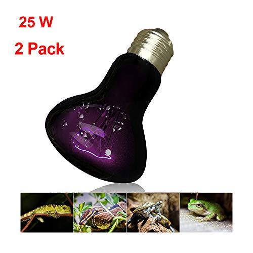 Mars Jun nachtverwarmingslamp, 2 stuks, nachtlampje voor reptielen, UVA nachtlampje voor ampfibiën, natuurlijk licht, nachtobservatie, schroefdraad E27, 220 V, 25W