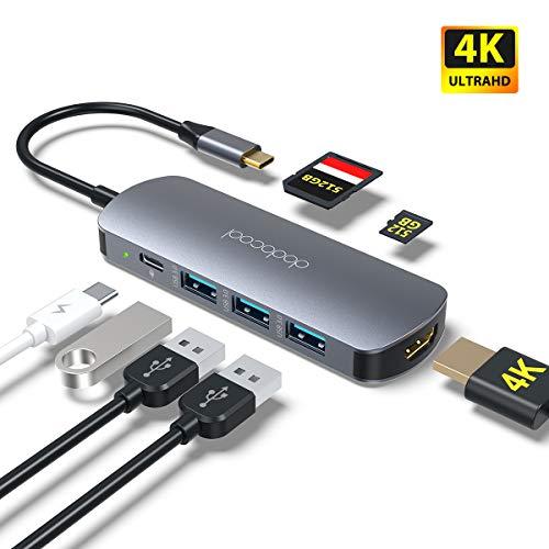 dodocool USB C Hub 7 in 1 Aluminium USB C Adapter mit 4K HDMI, USB-C Ladeanschluss, 3 USB 3.0 Anschlüsse, SD/Micro SD-Kartenleser für MacBook Pro/Air, Chromebook, Samsung S9/S10, More Type C Geräte