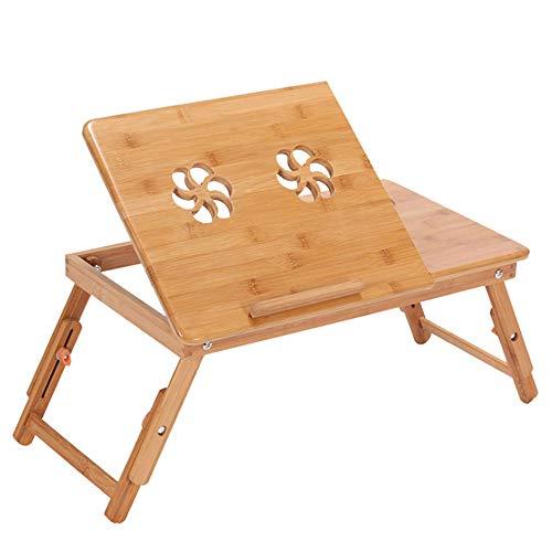 ZWLUCKY Draagbare Opvouwbare Bamboe Laptop Tafel, Sofa Bed Office Laptop Stand Bureau met Ventilator, Wordt geleverd met Kleine Laden, Kan Lift Tafelpoten, Huisslaapzalen