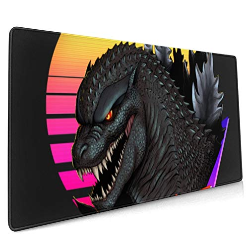 """Gaming Mouse Pad,Retrowave Godzilla , Long Extended Surface for Desktop Pc Computer Work Productivity Or Video Games, Laser Accuracy for Fast Responsiveness,15.8"""" X 35.5"""""""