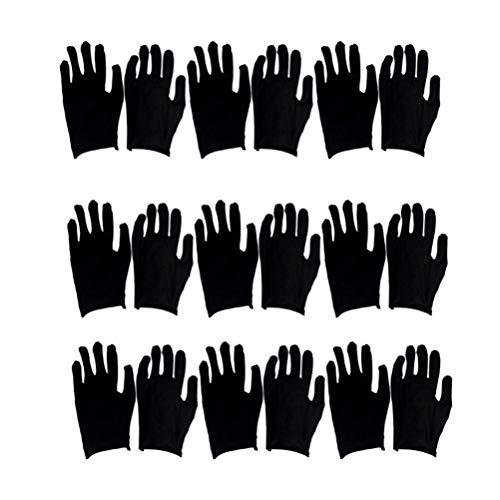 Exceart 12 Paare Schwarze Baumwollhandschuhe Baumwolle Arbeitshandschuhe Schutzhandschuhe Feuchtigkeitsspendende Handschuhe für Damen Herren Arbeiten Zuhause Münzen Schmuck