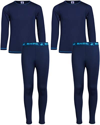 Beverly Hills Polo Club Boys 4-Piece Performance Thermal Underwear Set (2 Full Sets), Navy/Turquoise, Size Medium (8/10)'