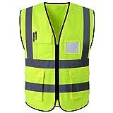 ShyaWorld Chaleco Reflectante de Seguridad Adulto Trabajo con bolsillos de Alta Visibilidad. Cintas Reflectivas y Ligeros. Ideal para trabajo. Tallas de Adulto. (Amarillo POL, L)