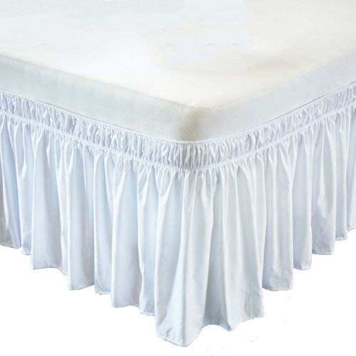 Wrap Around Bed Skirt- 12 Inch Drop Length Style Easy Fit Elastic Bed Ruffles Bed-Skirt Wrinkle Free Bed Skirt - White, King in All Bed Sizes and Colors
