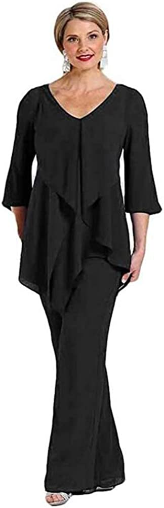 Women's 2 PC Chiffon Mother of The Bridal Pant Suit Evening Gowns