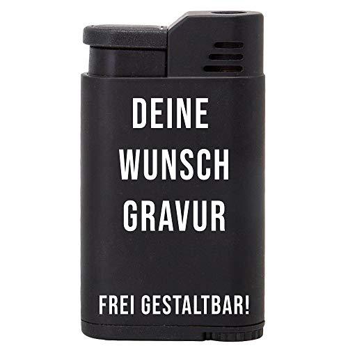 Feuerzeug mit Gravur - Sturmfeuerzeug mit Jet Flame - 61 x 35 x 14 mm - schwarzes Metall - von Your Gravur, Motiv: Deine Wunschgravur