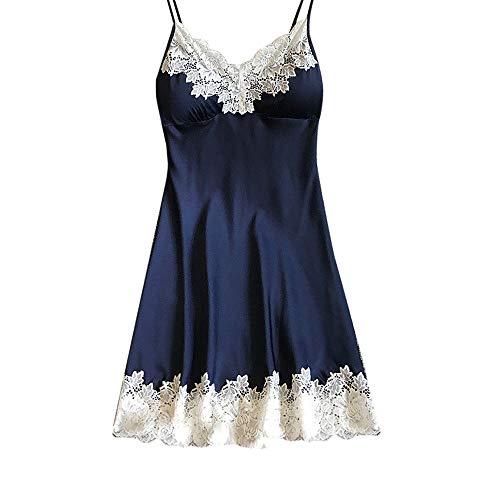 Sexy Satijnen Nachtkleding Dames Slaap & Lounge Zijden Gewaden Nachthemden Dames Kanten Riem Nachthemd Pyjama Badjas Homewere Marineblauw