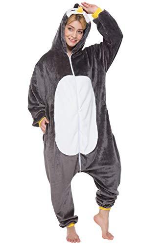 corimori 1852 Pablo der Pinguin Damen Herren Onesie Jumpsuit Anzug Einteiler Kostüm Verkleidung Gr. 180 - 190cm, Schwarz