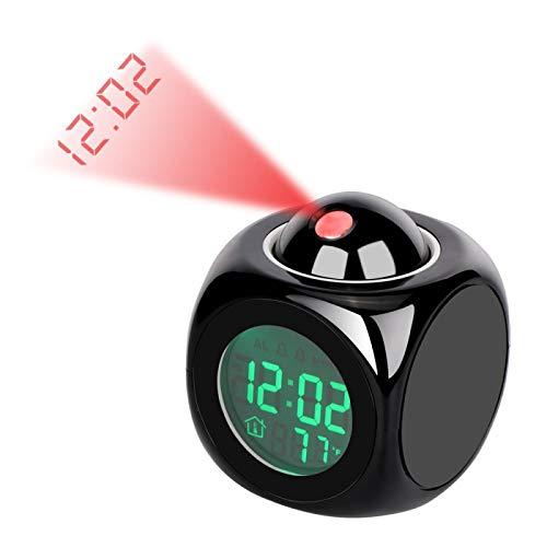 TenYua Digitaler Wecker, Wandprojektion, Wetter, LCD-Bildschirm, Schlummeralarm, Anzeige von Uhrzeit, Sprachalarm, LED-Hintergrundbeleuchtung