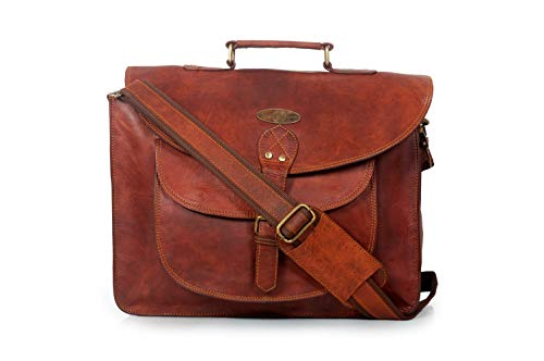 Generic Creative Art and Craft Office Laptop Leather Executive Formal Laptop Briefcase Messenger Bag for Men Women with Multiple compartments Brown, Medium