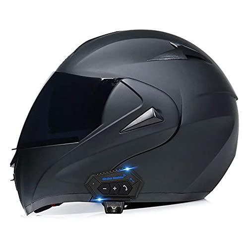 LIRONGXILY Casco Moto Modular Casco Moto Bluetooth Integrado Casco Integral Modular Casco de Moto con Doble Visera para Hombre o Mujer ECE Homologado (Color : B, Size : 59-60(L))