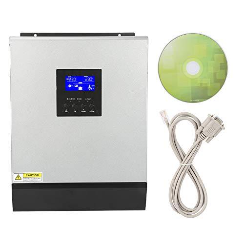Hybrid Wechselrichter, 3KVA 2400W Hochfrequenz hybrid Reiner Sinus Wechselrichter Eingebauter Solarregler 50A Eingang 24V Ausgang 220V