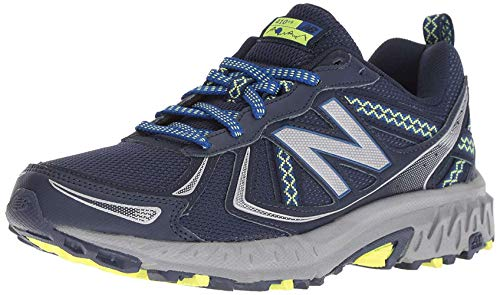 New Balance Women's 410v5 Cushioning Trail Running Shoe, Pigment/Team Royal/Solar Yellow, 6 D US