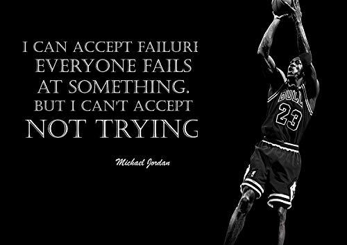 Michael Jordan 9# Schwarz und Weiß American Basketball Spieler NBA Sport Zitat Plakat Motivation Bild Inspiration Foto Zug Harte Schlafzimmer Grafik Wand Dekoration Nachdruck Grafik